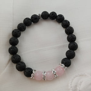 Handmade Lava Bracelet with Rose Quartz Beads and Rhinestone Spacers