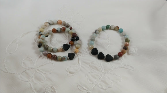 Amazonite Bracelets with Lava Hearts, handmade in Iceland