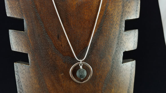 Circle Necklace with Lava Rock