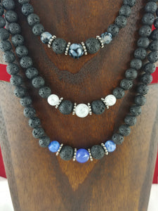 Grand Lava Necklace with Gemstones - 3 Types of Gemstones to select from