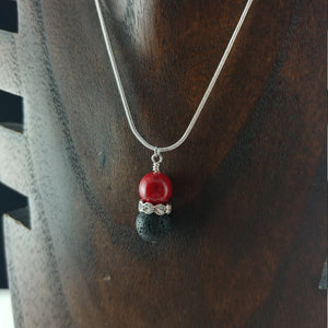 Necklace with 10mm Lava Stone - Crystal Rhinestone - Spacer Bead || 5 Colors to select from