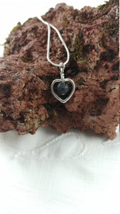 Small Lava Stone Necklace - 2 types: Heart shape and Circle shape - 6mm Lava Stone