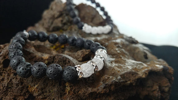 Ice Bracelet - Handmade Lava Bracelet with Crackle Crystal Beads and Rhinestone Spacers - Handmade In Iceland