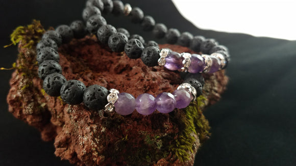 Aurora Amethyst Bracelets - Icelandic Nature Bracelet with Amethyst Beads and Rhinestone Spacers