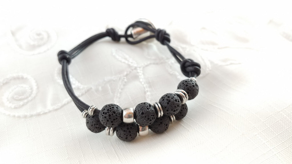 Leather Lava Bracelet with Button Clasp