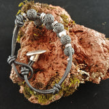 Leather Bracelet with Button Clasp and 8mm Lava Stones
