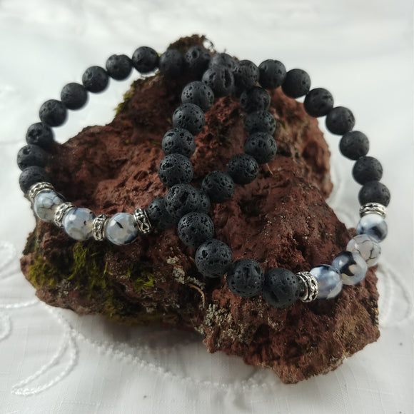 Lava Bracelet with Grey Agate Stone and Inspired by Studlaberg, columnar igneous rock