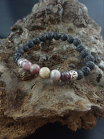 Load image into Gallery viewer, Icelandic Handmade Lava Bracelet With Natural Tourmaline Stones
