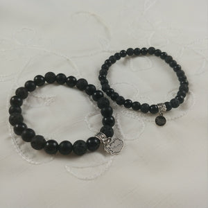 Lava and Onyx Bracelet with Iceland Charm - 2 types