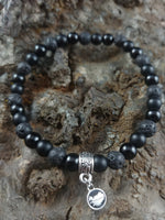 Load image into Gallery viewer, Lava and Onyx Bracelet with Iceland Charm - 2 types