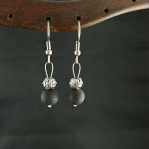 Iceland lava earrings with lava and round spacer bead