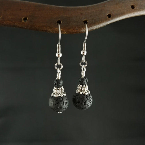 Elegant Icelandic Handmade Lava Rock Earring - Combination of small and large Lava Rocks