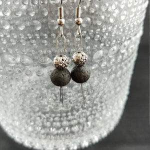 Lava Rock Reykjavik Earrings - 3 Types - With Round Spacer Bead