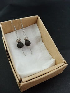 Iceland lava earrings with Lava Rock, Round spacer bead, and silver straw