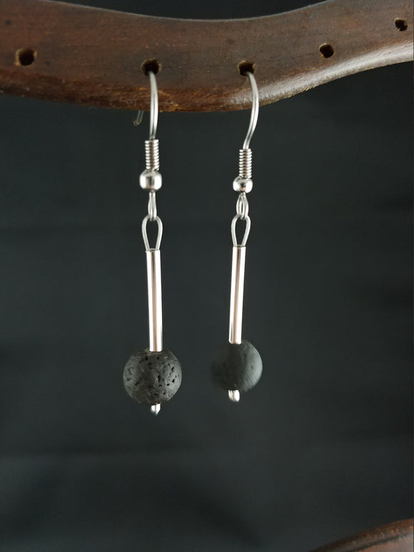 Polished Icelandic Lava Rock Earring with Silver Plated Tube Spacer