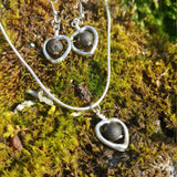 Heart set - A set with Lava Earrings and Lava Necklace with Heart Pendant