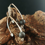 Load image into Gallery viewer, Long Curved Brass Earrings With 10mm Lava Rock - Iceland Lava Earrings