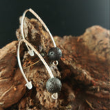 Long Curved Brass Earrings With 10mm Lava Rock - Iceland Lava Earrings