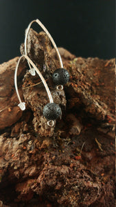 Long Curved Earrings with lava rock