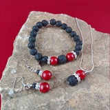Volcano Fire Set - A Set of Volcano Jewelry || Necklace - Bracelet and Earrings