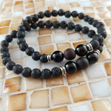 Tiger Eye Lava Bracelet - 6mm Lava Rock with 2 Black Agate Beads and 1 Frosted Tiger Eye