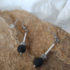 Lava Rock Earrings with a long Silver Tube