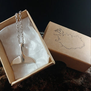 Whale Tail - Necklace With Stainless Steel Chain - Has a Large Whale Tail Charm