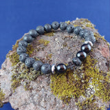 Lava and Onyx Bracelet with Hematite Cross
