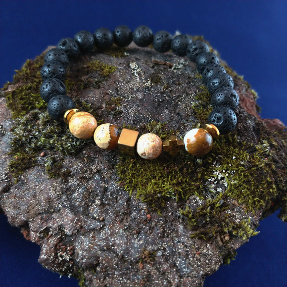 Lava and Picture Jasper Bracelet with Hematite