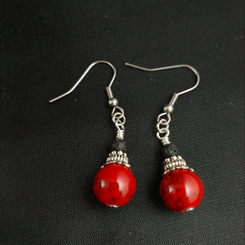 Volcano Red Lava Earrings with 4mm Lava