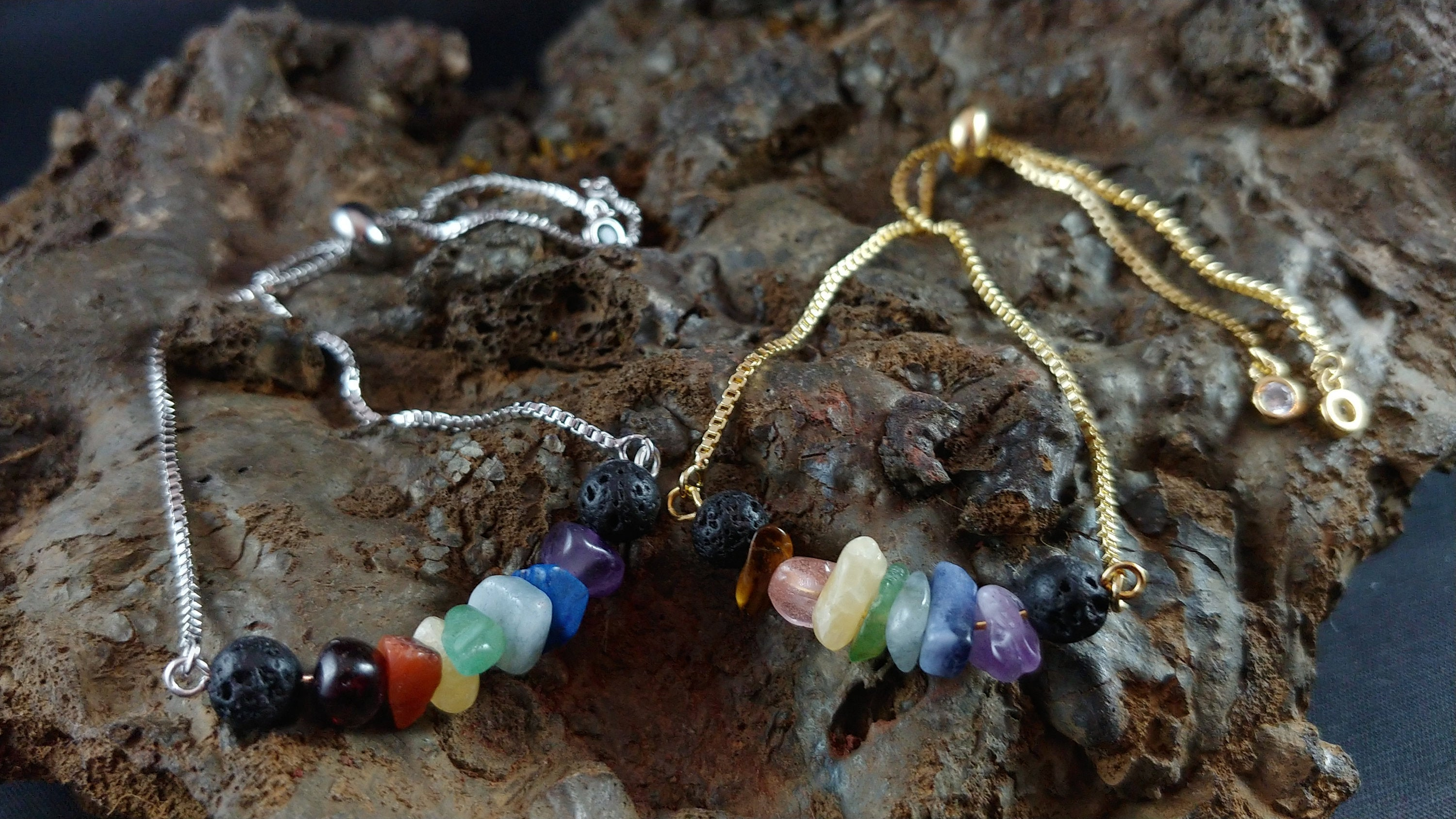 Colorful Gold and Silver Slider Lava Bracelets - Mix of Colorful Gemstone Chips with Lava