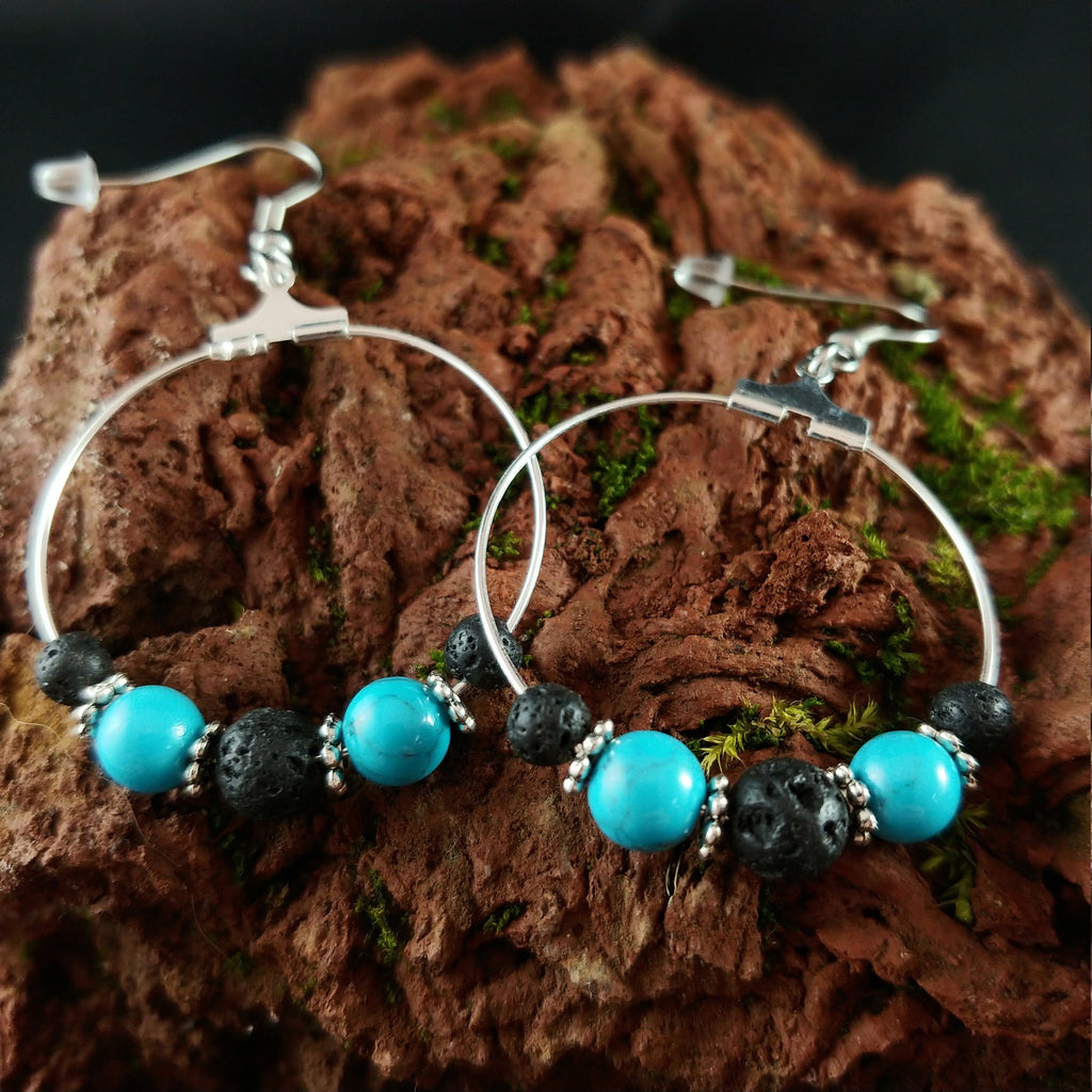Icelandic Hoop Earring Design with Lava and Blue Tourquise beads