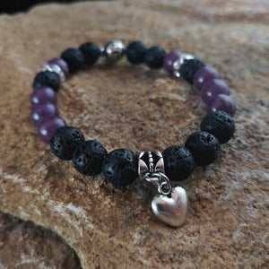 Violet Tourmaline Lava Bracelet with Heart Charm