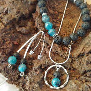 The Iceland Glacier Set || A Set of Blue Natural Apatite Jewelry || Necklace - Bracelet and Earrings