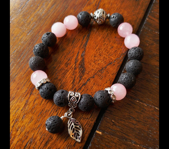 Lava and Natural Rose Quartz Gemstone Bracelet - Larger 10mm Beads - Iceland Jewelry