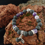 Lava and Amethyst Gemstone Bracelet - Larger 10mm Beads - Iceland Jewelry