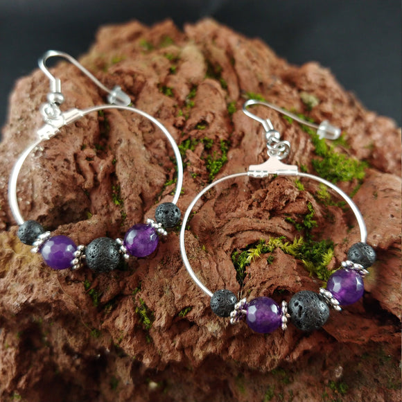Violet Amethyst Lava Hoop Earrings - Spring 2020 jewelry