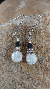 Ice Earrings with 4mm Lava – Icelandic Handmade Jewelry
