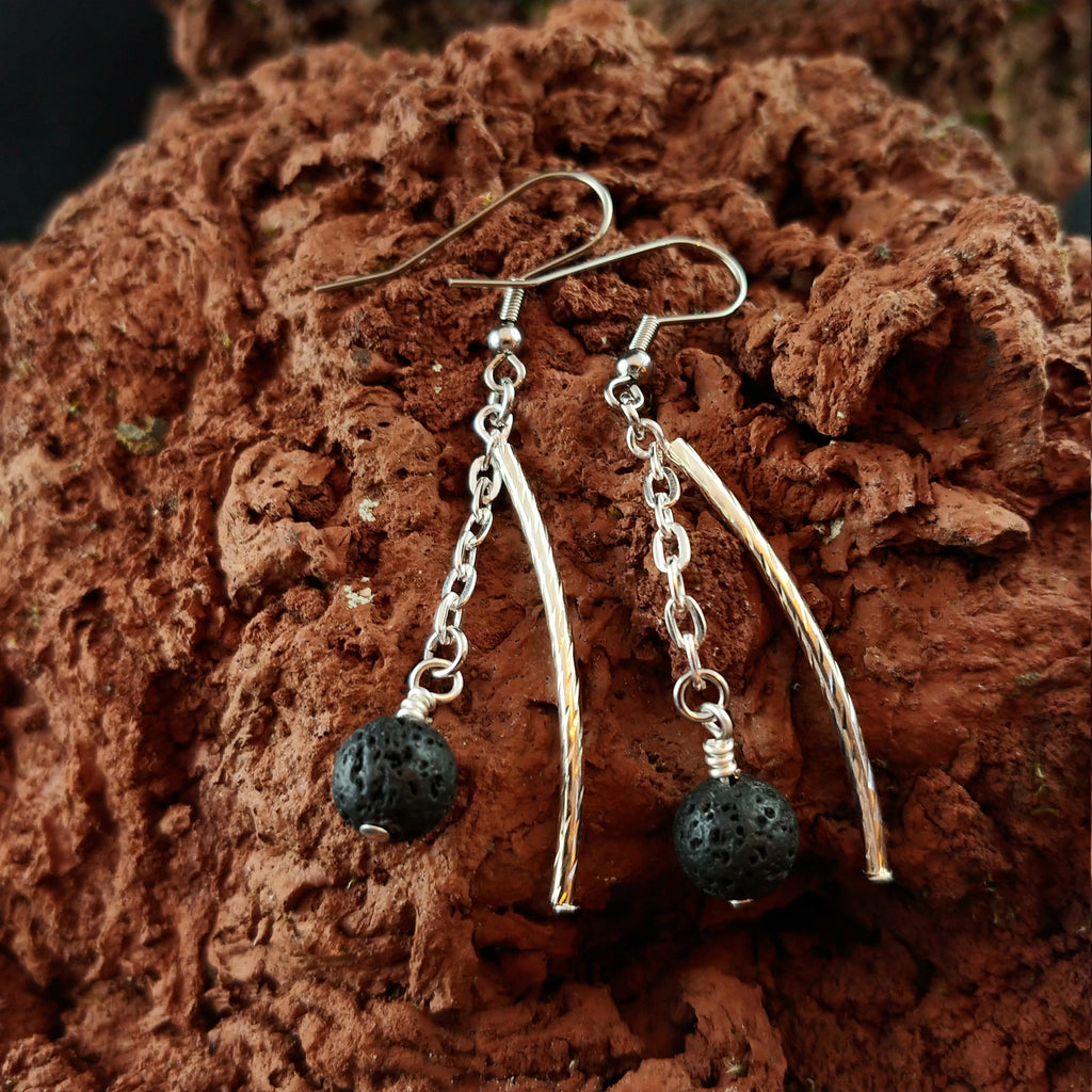 Dangle Lava Earrings with 8mm Lava Rock Beads hanging in a Chain