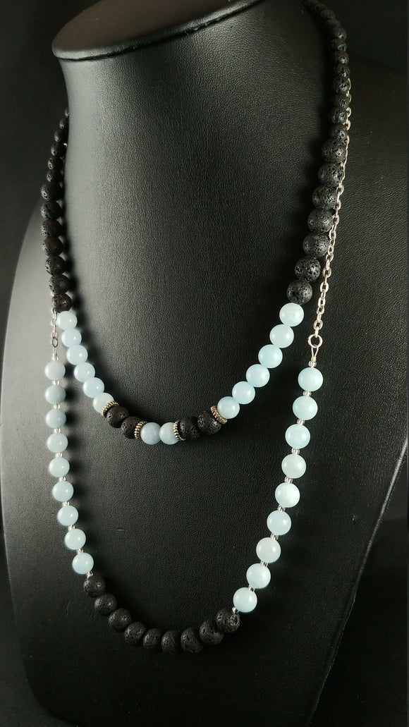 Layer Lava Necklace with Lava and Aquamarine Beads - Stackable Icelandic Jewelry
