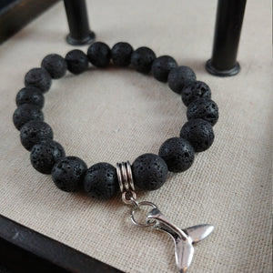 Lava Bracelet with larger 10mm lava beads and Iceland Whale Tail Charm