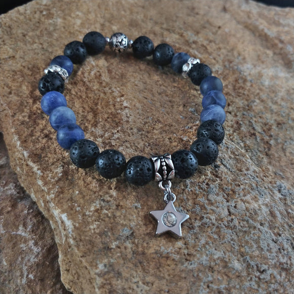 Blue Sodalite Lava Bracelet with Star Charm