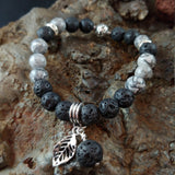 Gray Picasso Jasper Lava Bracelet with Lava and Feather Charm