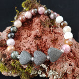 Natural Tourmaline Bracelet with Lava Hearts