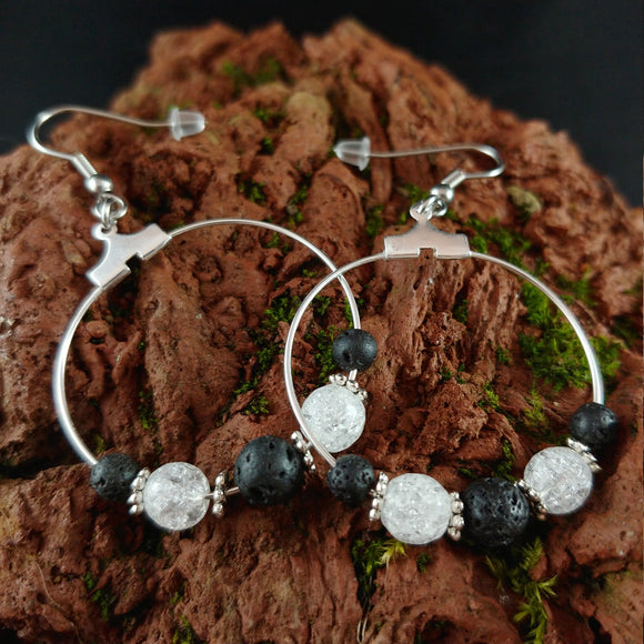 Ice Crystal Lava Hoop Earrings -- Handmade in Iceland - Lava Rock Reykjavik