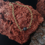 Old Gold Style Lava Chain Bracelet with Bronze Spacers