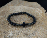 Black Cross lava bracelet with Natural Iron Pyrite gemstone