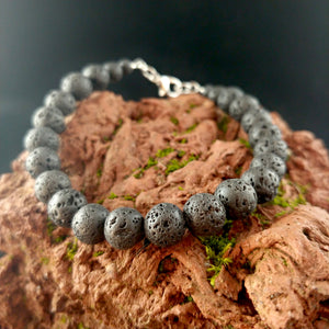 Basic Wired Lava Bracelet with Lobster Clasp