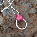 Load image into Gallery viewer, Red Salmon Leather Silver Circle Necklace - Icelandic Fish Leather Jewelry - Handmade in Iceland