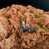 Lava Studs set with Lava Stud Earrings with Sterling Silver and Stud Necklace with Lava